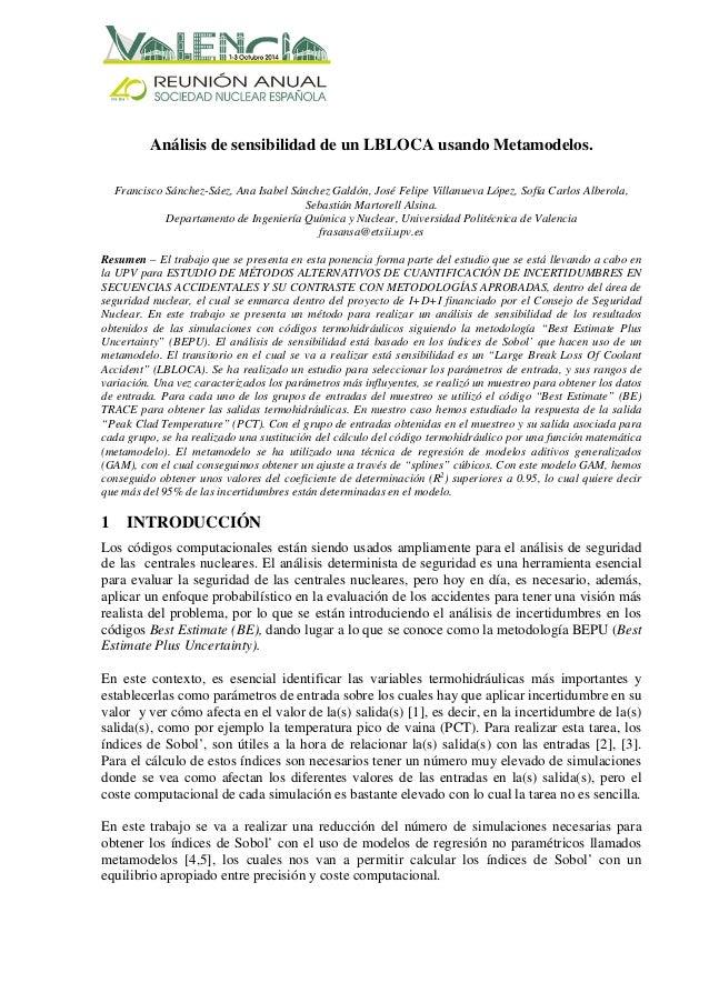 Análisis de sensibilidad de un LBLOCA usando Metamodelos. Francisco Sánchez-Sáez, Ana Isabel Sánchez Galdón, José Felipe V...
