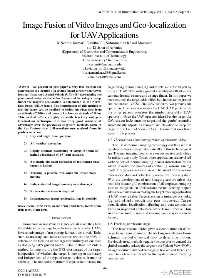 ACEEE Int. J. on Information Technology, Vol. 01, No. 02, Sep 2011   Image Fusion of Video Images and Geo-localization    ...