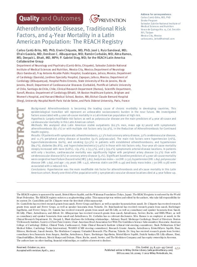 Atherothrombotic Disease, Traditional Risk Factors, and 4-Year Mortality in a Latin American Population: The REACH Registry