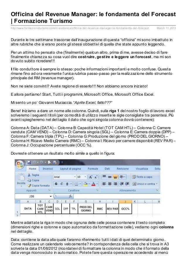 Officina del Revenue Manager: le fondamenta del Forecast| Formazione Turismohttp://www.formaz ioneturismo.com/in- evidenz ...