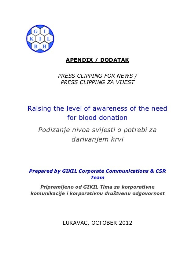 APENDIX / DODATAK          PRESS CLIPPING FOR NEWS /           PRESS CLIPPING ZA VIJESTRaising the level of awareness of t...