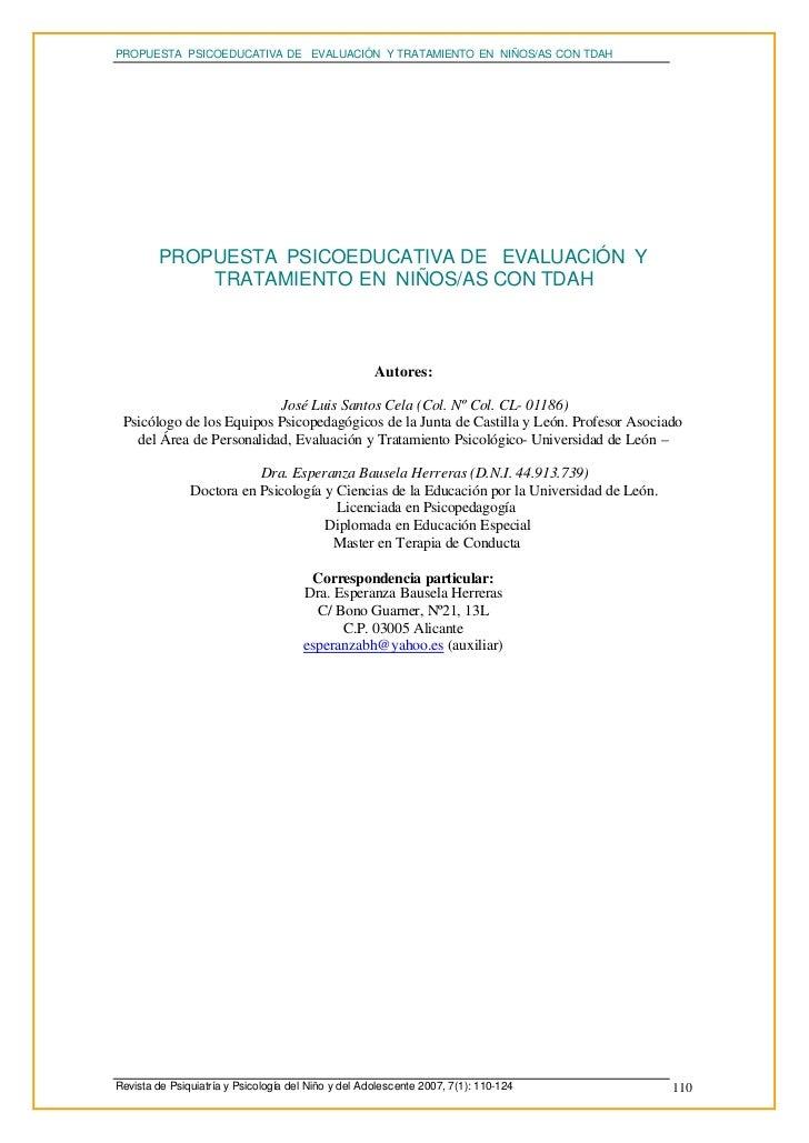 PROPUESTA PSICOEDUCATIVA DE EVALUACIÓN Y TRATAMIENTO EN NIÑOS/AS CON TDAH         PROPUESTA PSICOEDUCATIVA DE EVALUACIÓN Y...