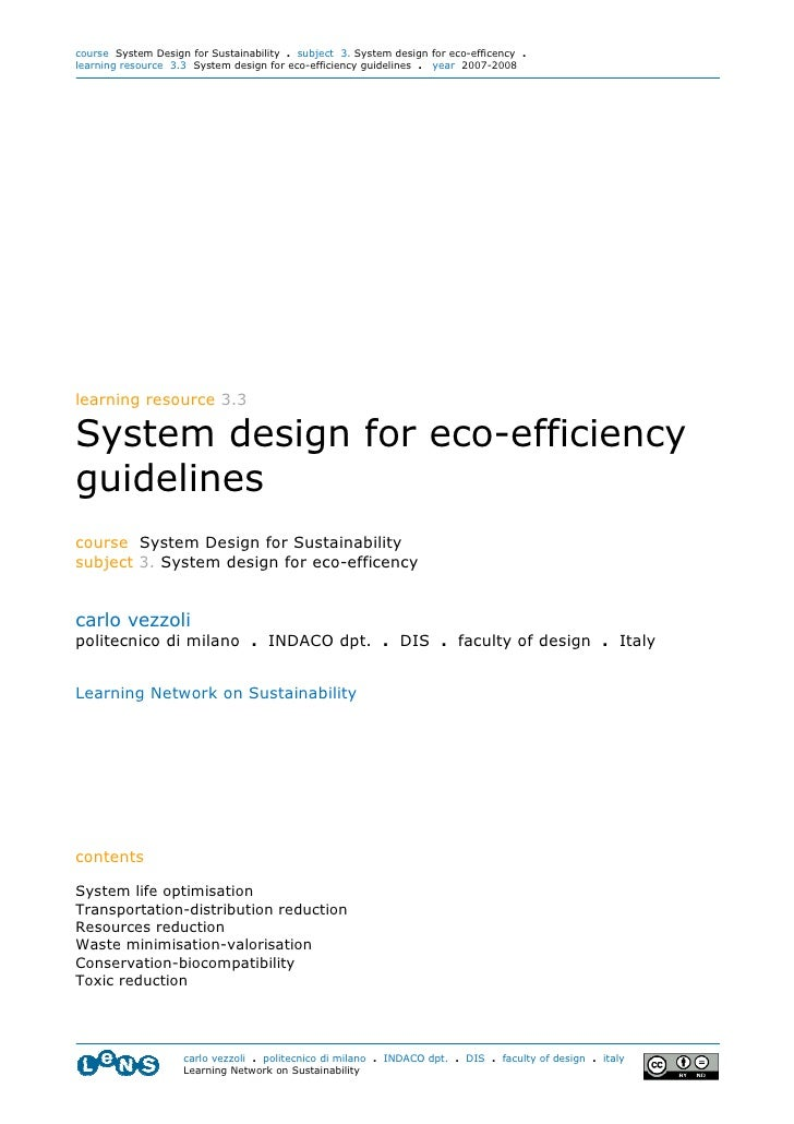 course System Design for Sustainability . subject 3. System design for eco-efficency . learning resource 3.3 System design...