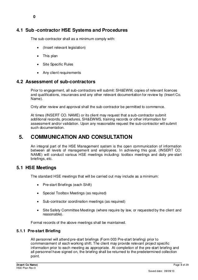 Contractor safety plan template bing images for Environmental health and safety plan template