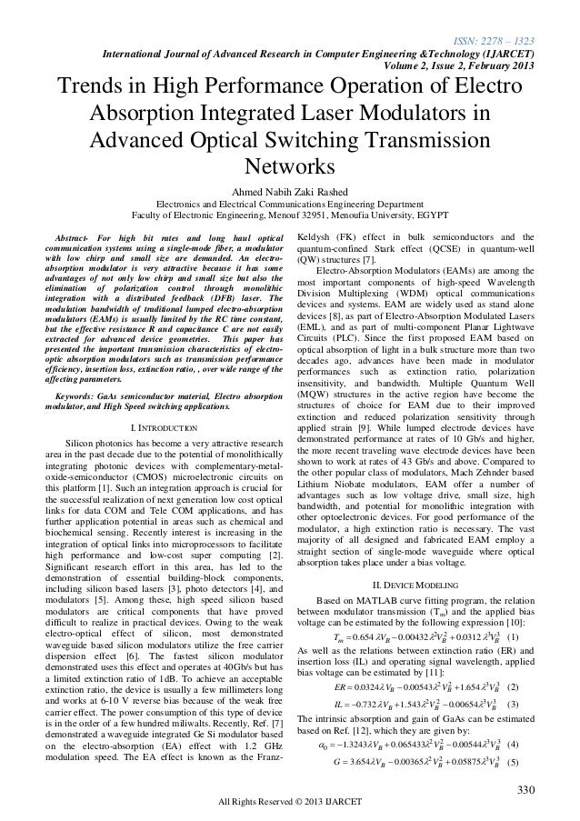 Trends in High Performance Operation of Electro Absorption Integrated Laser Modulators in Advanced Optical Switching Transmission Networks
