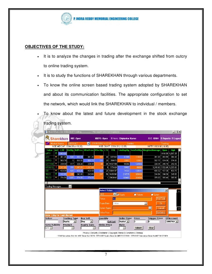 Online trading system project specifications