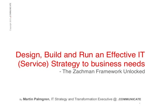 .  Copyright 2013 COMMUNICATE!  Design, Build and Run an Effective IT (Service) Strategy to business needs! - The Zachman ...