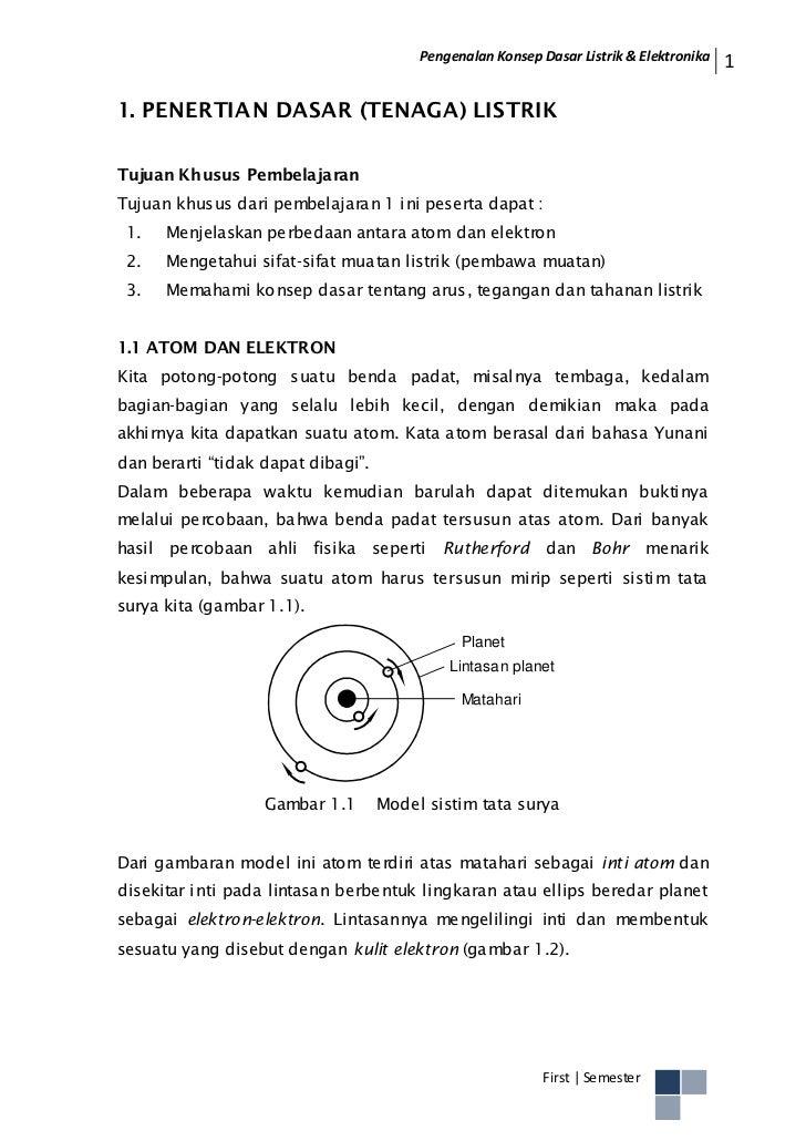 Pengenalan Konsep Dasar Listrik & Elektronika   11. PENERTIAN DASAR (TENAGA) LISTRIKTujuan Khusus PembelajaranTujuan khusu...