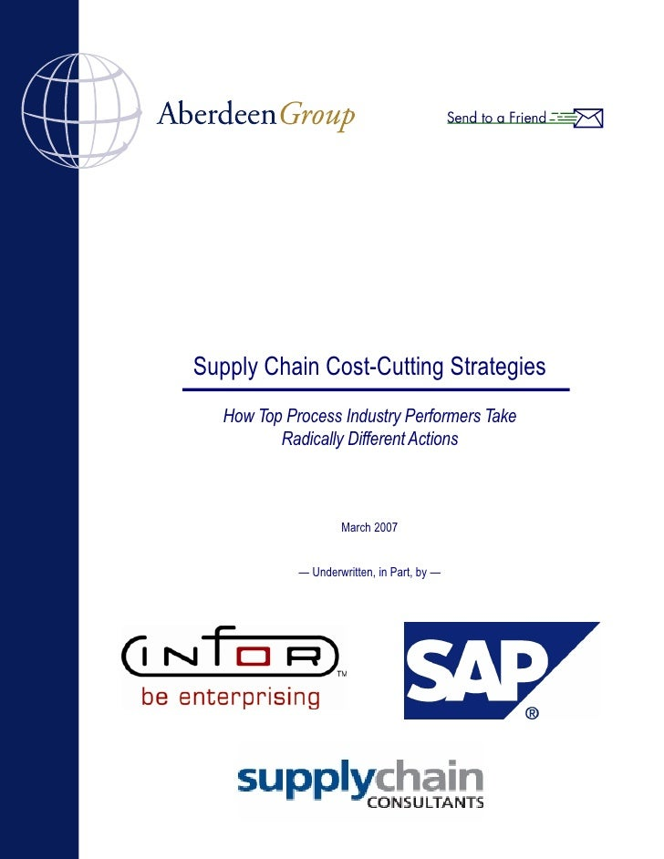 Supply Chain Cost-Cutting Strategies    How Top Process Industry Performers Take           Radically Different Actions    ...