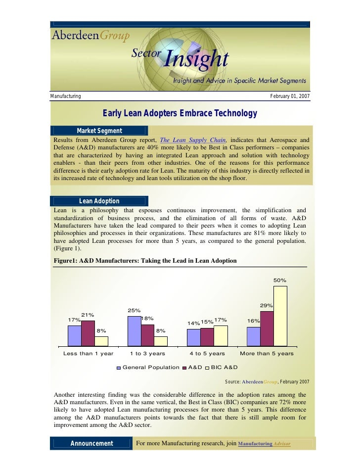 Early Lean Adopters Embrace Technology (Aberdeen Group Sector Insight)