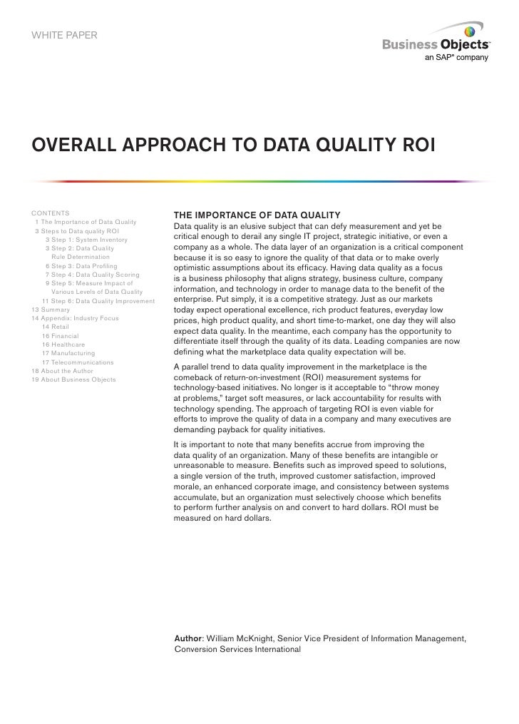 Overall Approach to Data Quality ROI