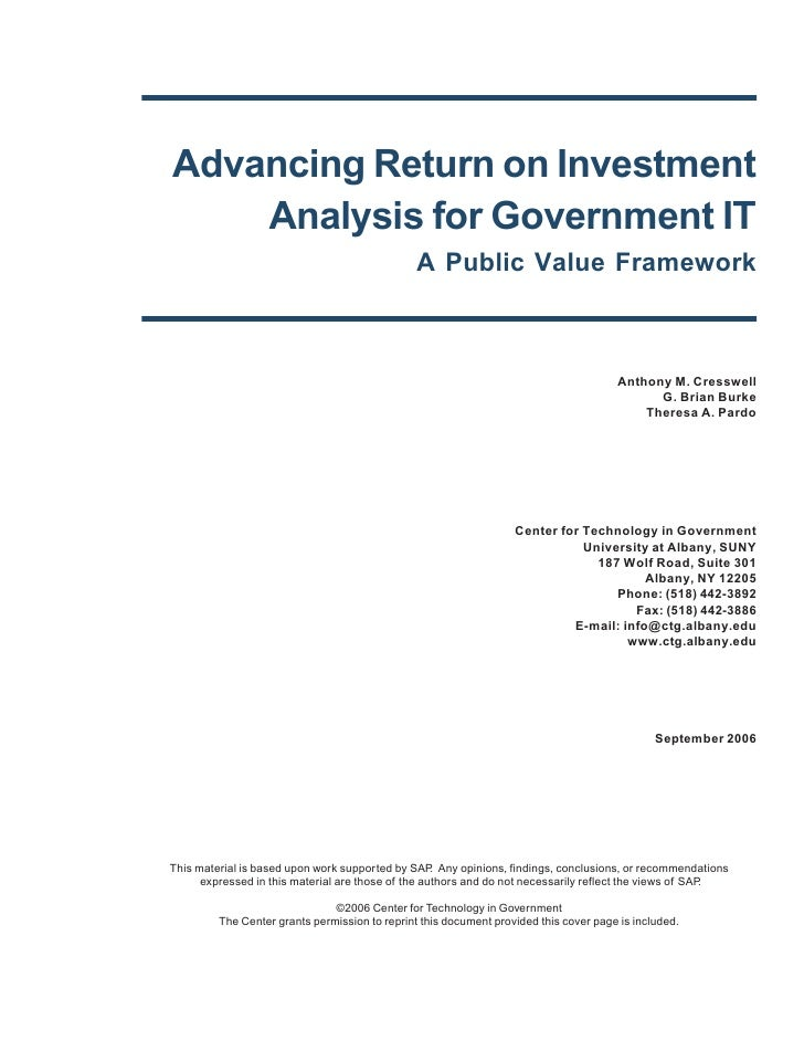 Advancing Return on Investment Analysis for Government IT: A Public Value Framework