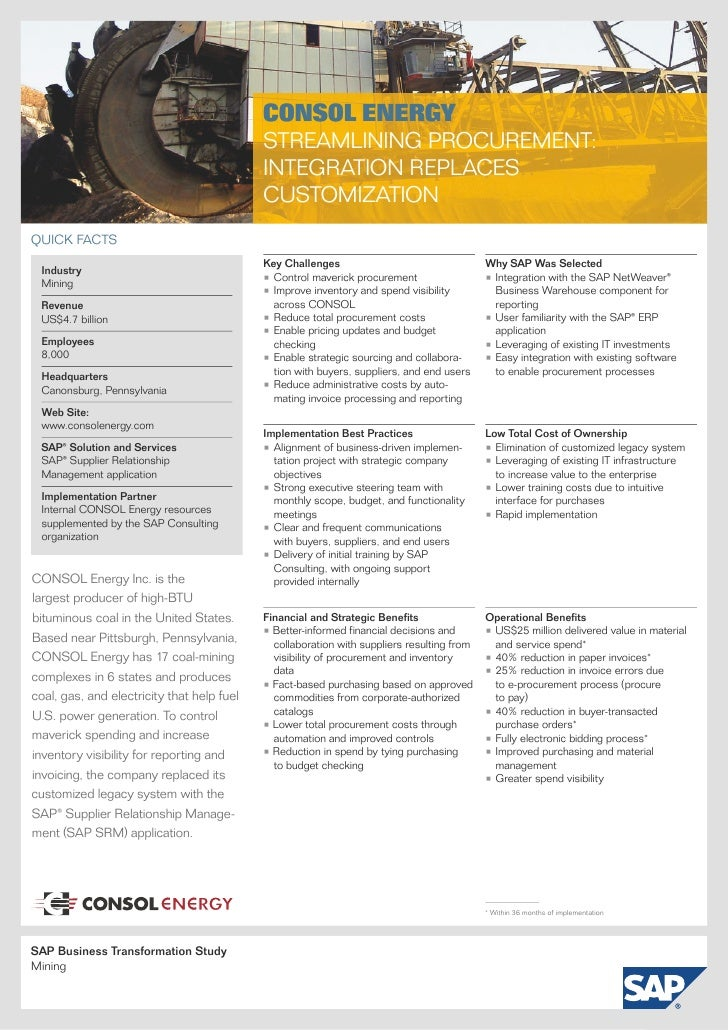 Consol Energy (Mining) Business Transformation Study - SAP Supplier Relationship Management