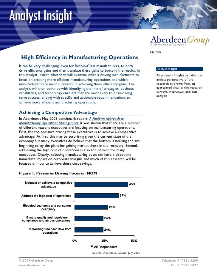 High Efficiency in Manufacturing Operations
