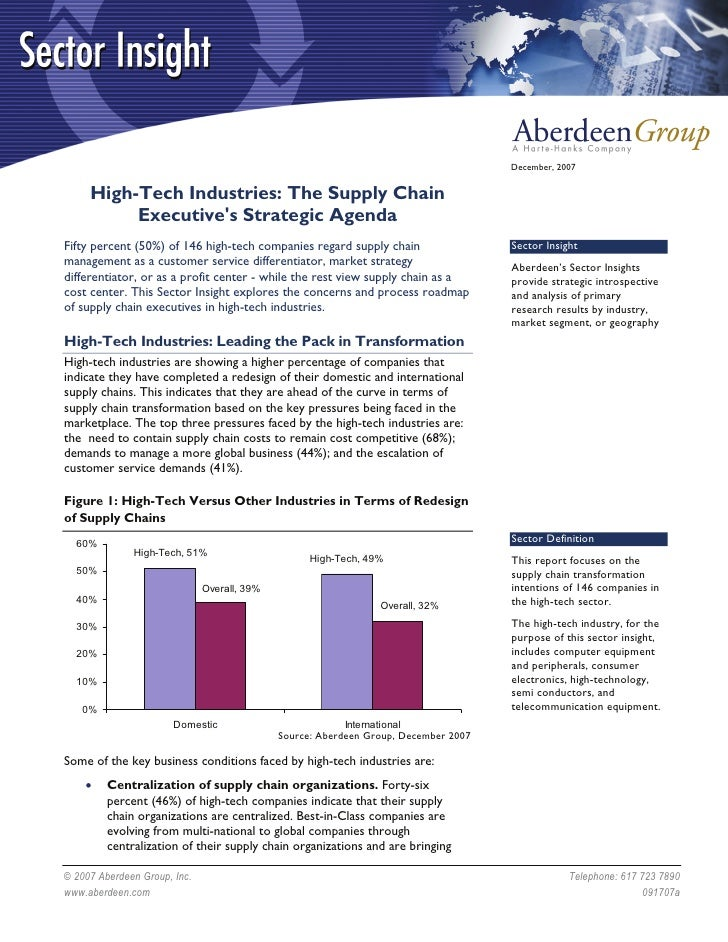 December, 2007        High-Tech Industries: The Supply Chain           Executive's Strategic Agenda Fifty percent (50%) of...