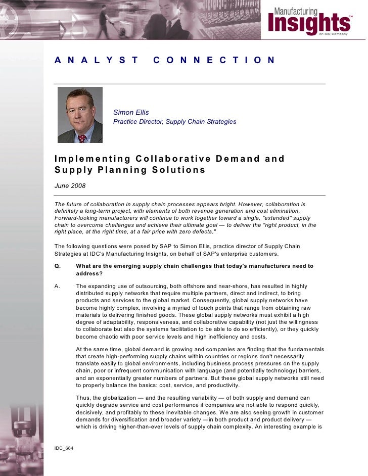 Implementing Collaborative Demand and Supply Planning Solution