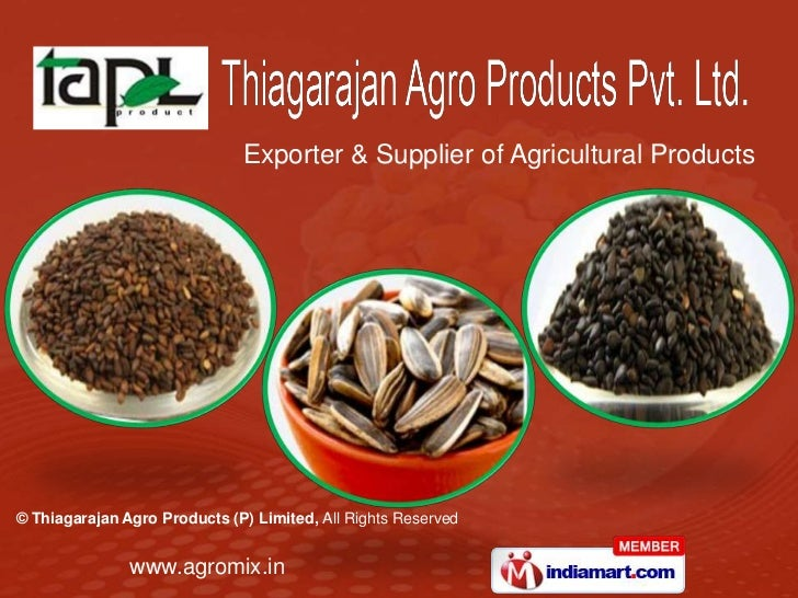 Exporter & Supplier of Agricultural Products© Thiagarajan Agro Products (P) Limited, All Rights Reserved               www...