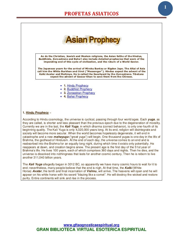1                                 PROFETAS ASIATICOS             As do the Christian, Jewish and Moslem religions, the Asi...