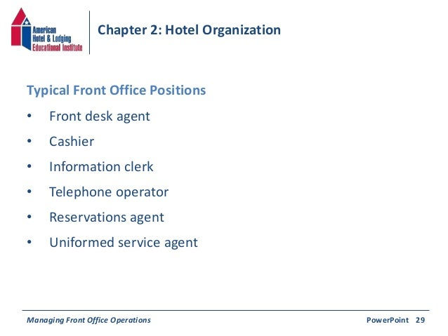 Chapter 2 hotel organization - Front office organizational structure ...