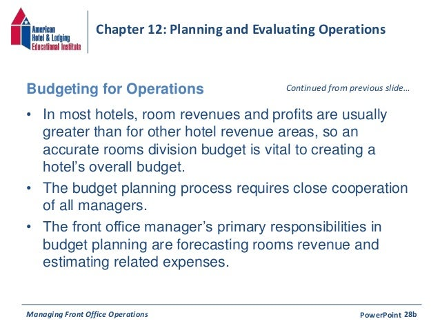 planning and evaluation front office operations