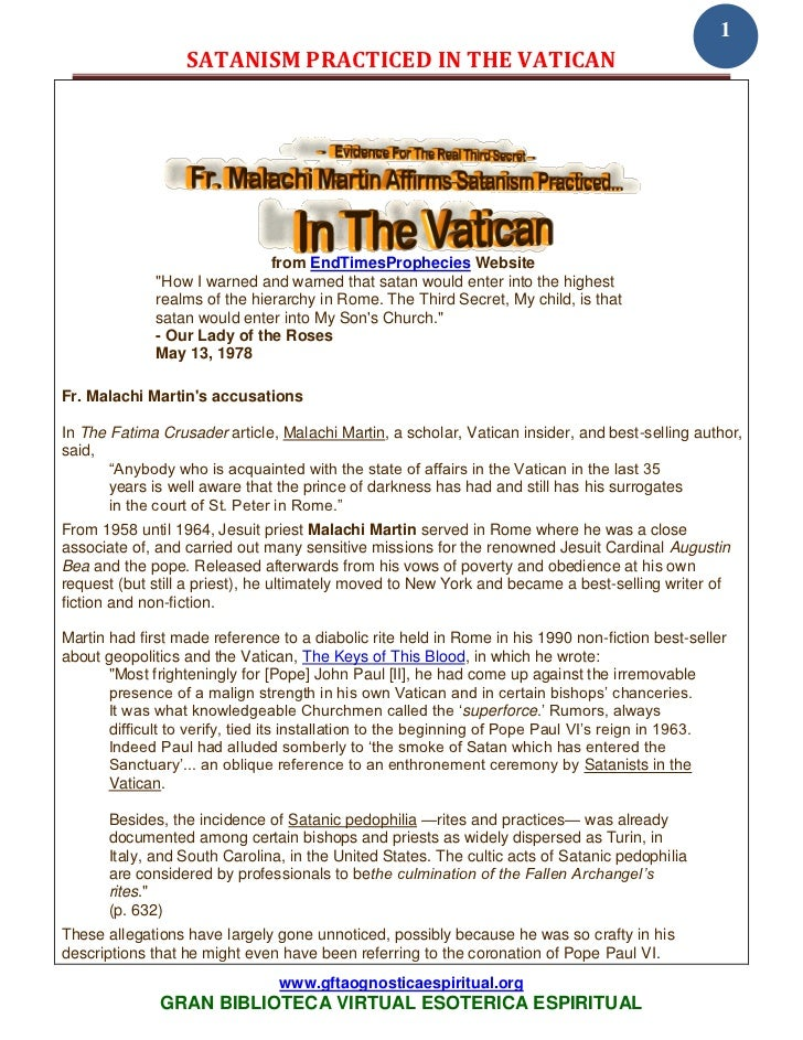 1                  SATANISM PRACTICED IN THE VATICAN                               from EndTimesProphecies Website        ...