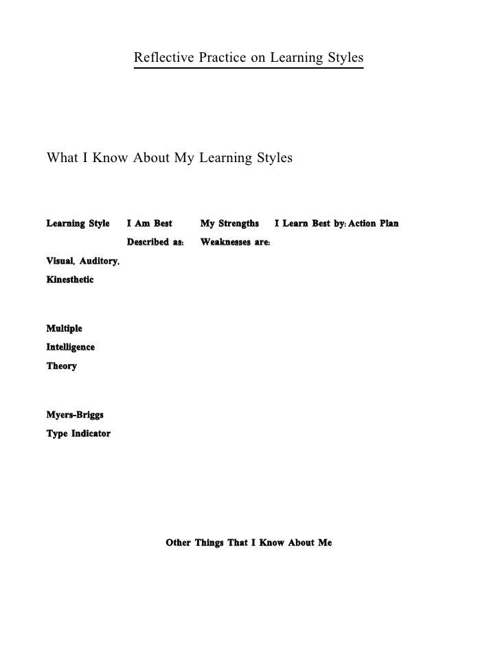 reflection on my learning styles essay Answer to this is a reflection of my writing for the  but on learning how to express my own  that i have included in an essay for my writing portfolio i have.