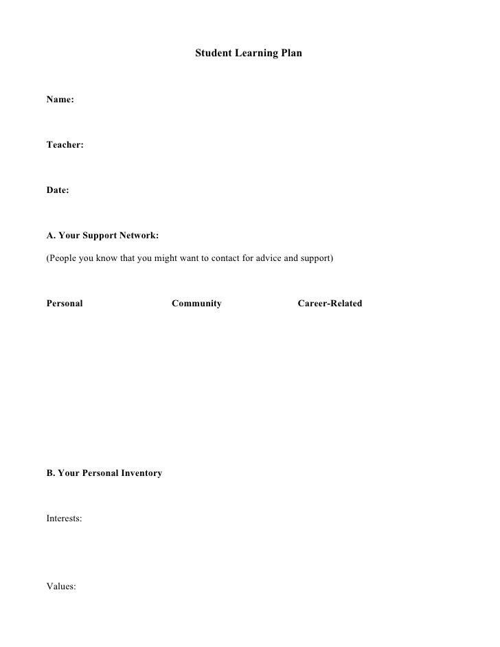 Student Learning Plan    Name:    Teacher:    Date:    A. Your Support Network:  (People you know that you might want to c...