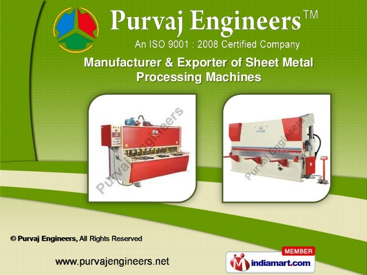 Manufacturer & Exporter of Sheet Metal        Processing Machines