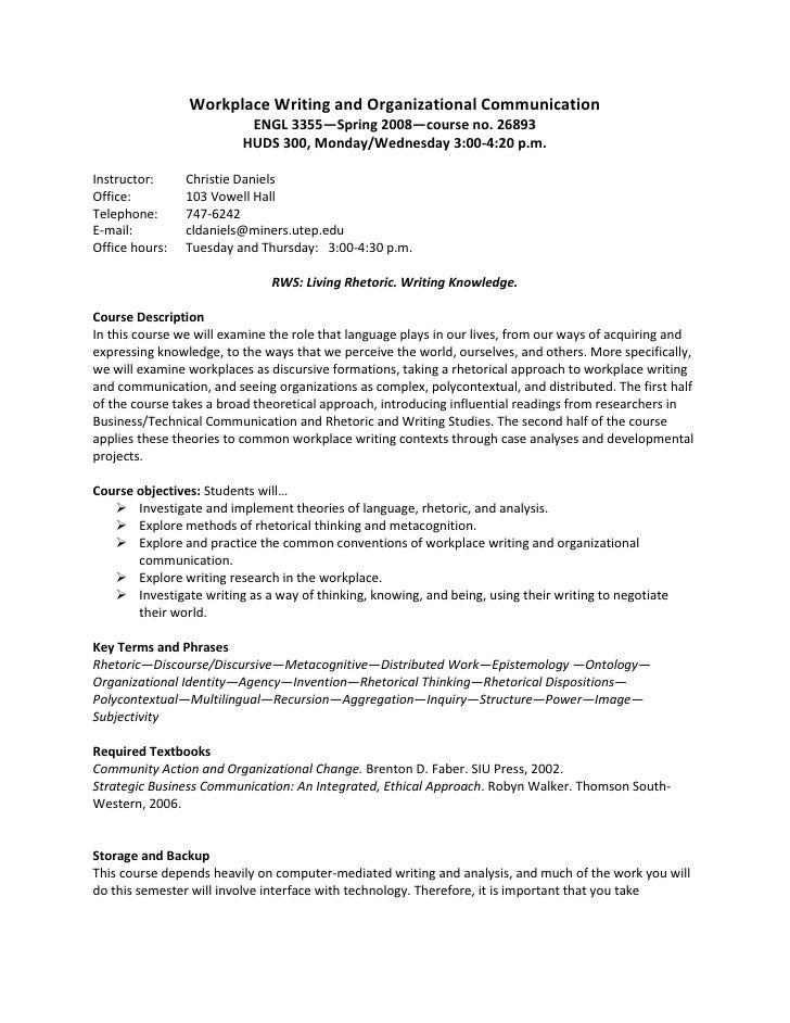 Workplace Writing and Organizational Communication                           ENGL 3355—Spring 2008—course no. 26893       ...