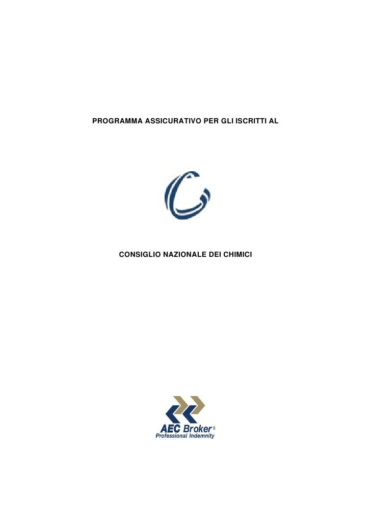 Programma Assicurativo Consiglio Nazionale Chimici