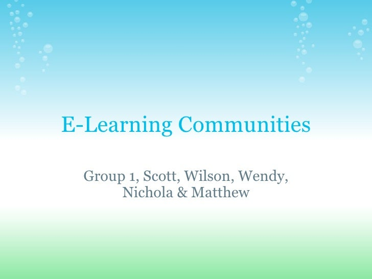 E-Learning Communities