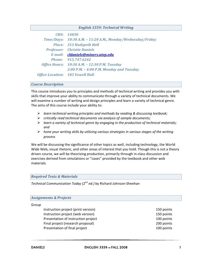 English 3359: Technical Writing                 CRN:14850          Time/Days: 10:30 A.M. – 11:20 A.M., Monday/Wednesday/Fr...