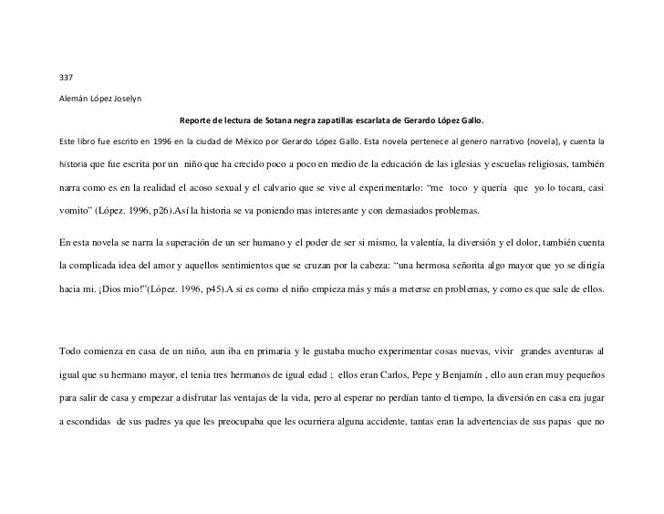 337Alemán López Joselyn                               Reporte de lectura de Sotana negra zapatillas escarlata de Gerardo L...