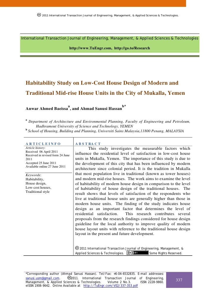 Habitability Study on Low-Cost House Design of Modern and Traditional Mid-rise House Units in the City of Mukalla, Yemen