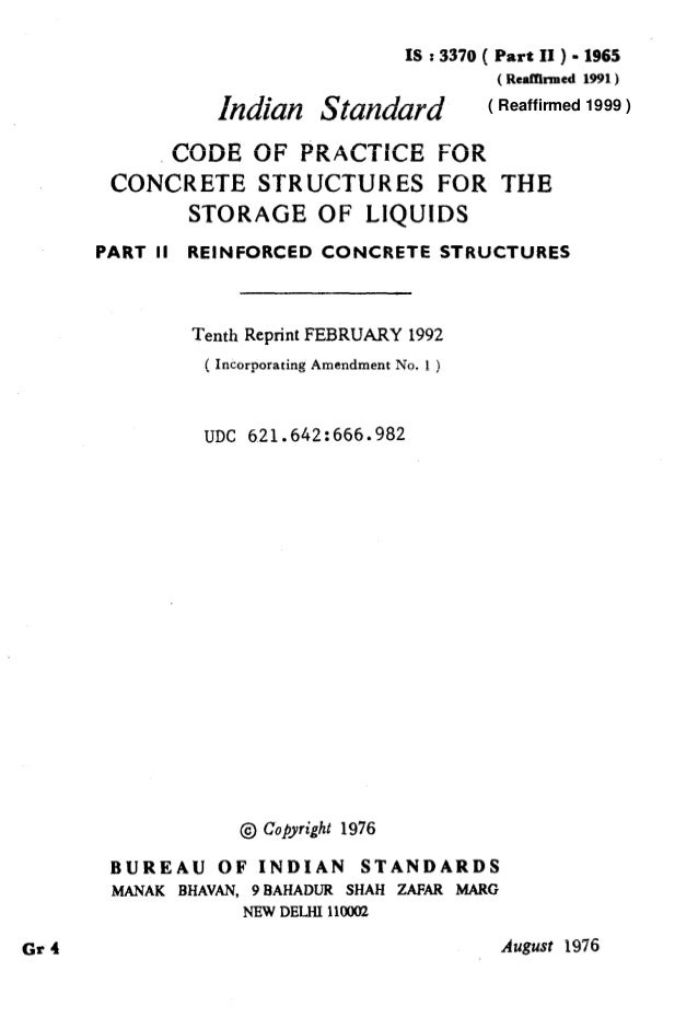 t IS : 3370 ( Part II ) - 1965 ( RealYhmed 1991) Indian Standard CODE OF PRACTKE FOR CONCRETE STRUCTURES FOR THE STORAGE O...