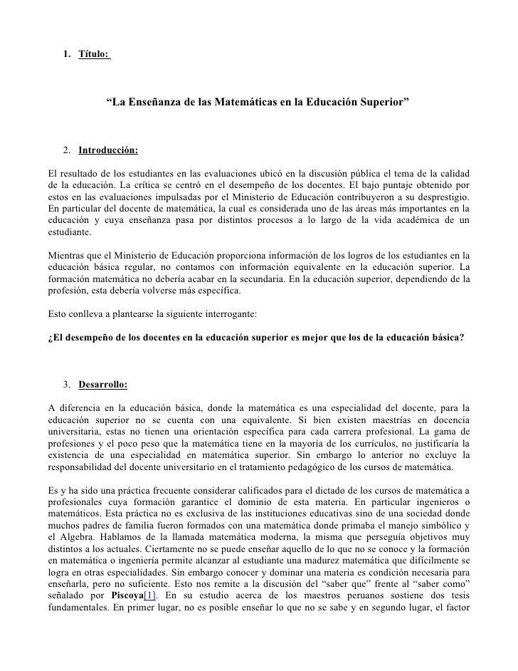 """1. Título:                  """"La Enseñanza de las Matemáticas en la Educación Superior""""       2. Introducción:  El resultad..."""