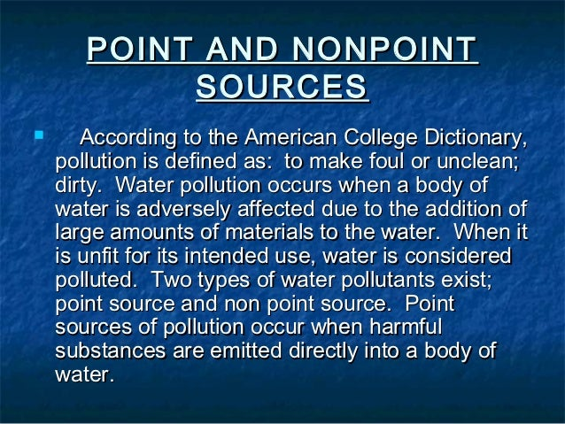 Assignment On Water Pollution
