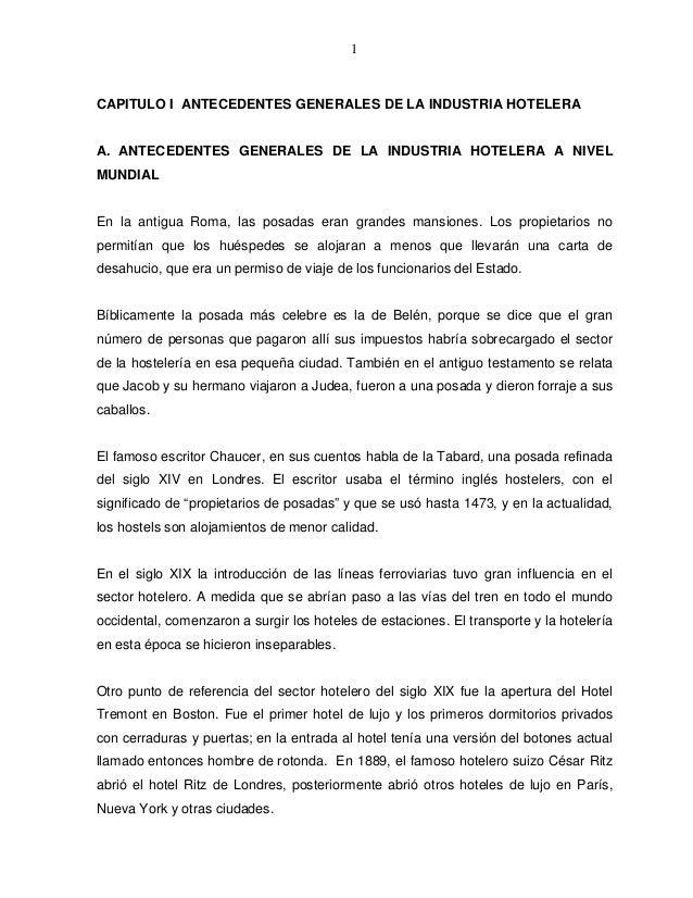 1CAPITULO I ANTECEDENTES GENERALES DE LA INDUSTRIA HOTELERAA. ANTECEDENTES GENERALES DE LA INDUSTRIA HOTELERA A NIVELMUNDI...