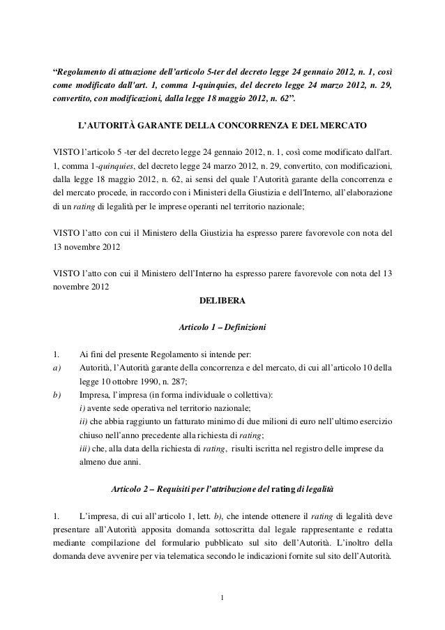 """""""Regolamento di attuazione dell'articolo 5-ter del decreto legge 24 gennaio 2012, n. 1, cosìcome modificato dallart. 1, co..."""