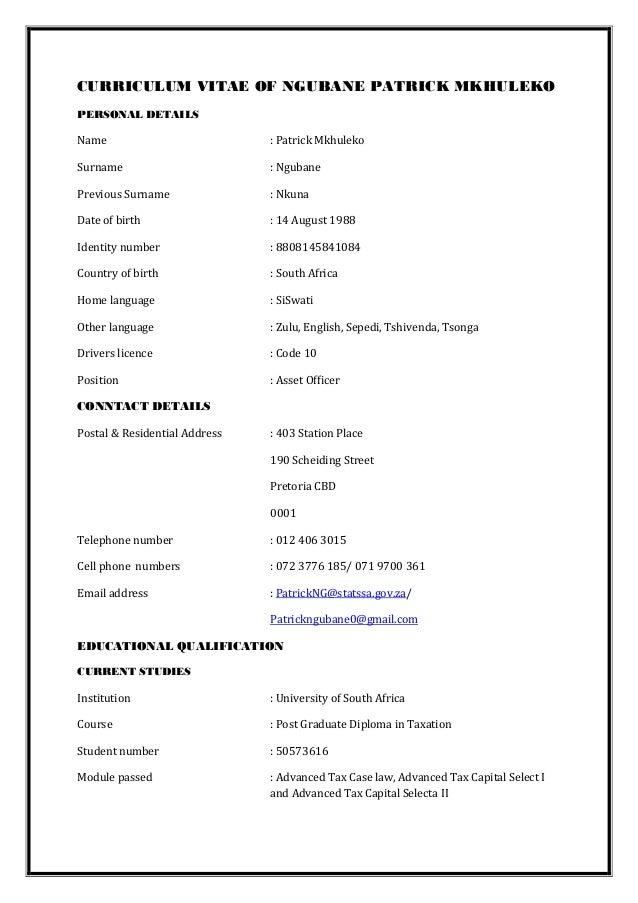 Ngubane Pm S Cv 1 Professional Accountant South Africa