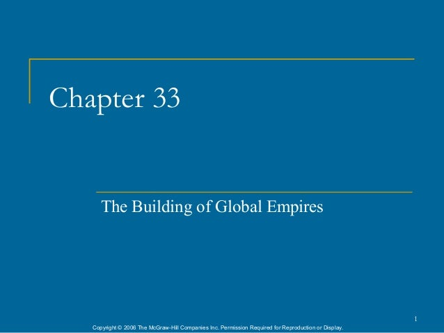 Chapter 33      The Building of Global Empires                                                                            ...