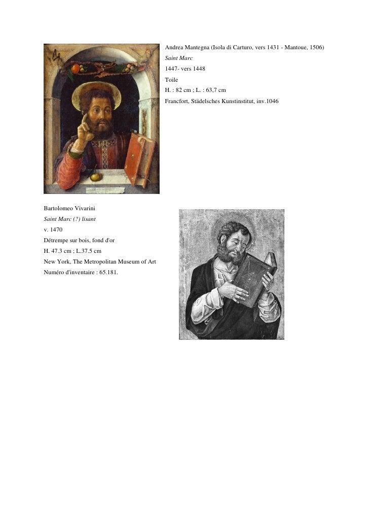Andrea Mantegna (Isola di Carturo, vers 1431 - Mantoue, 1506)                                           Saint Marc        ...