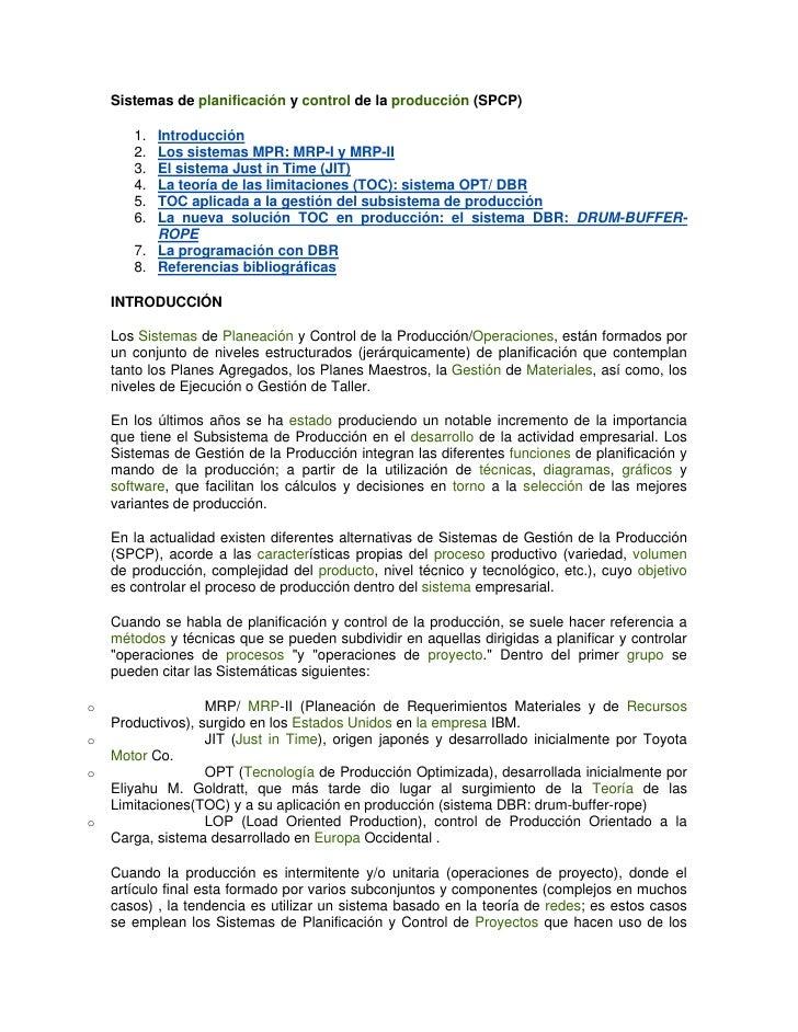 Sistemas de planificación y control de la producción (SPCP)       1. Introducción       2. Los sistemas MPR: MRP-I y MRP-I...
