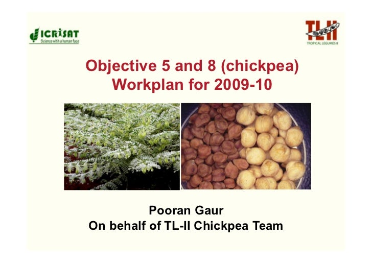 Objective 5 and 8 (chickpea)    Workplan for 2009-10               Pooran Gaur On behalf of TL-II Chickpea Team