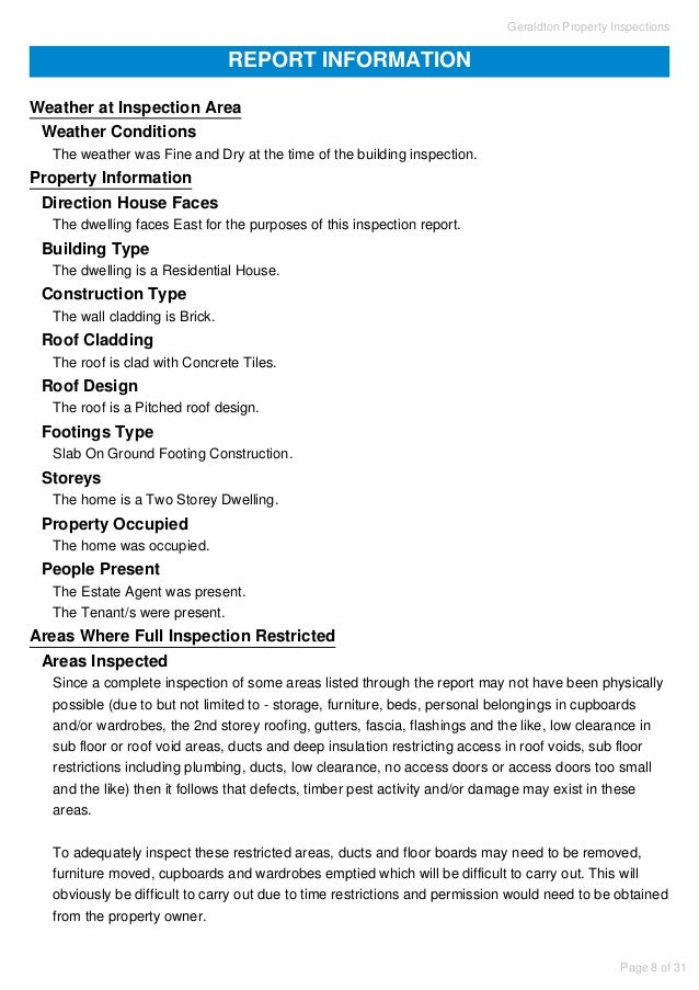 Concrete Inspection Report : Property inspection report