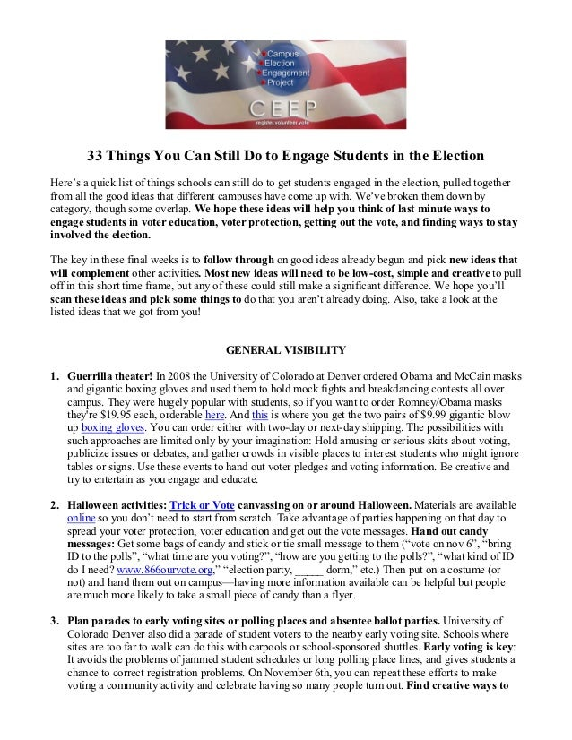 33 Things You Can Still Do to Engage Students in the ElectionHere's a quick list of things schools can still do to get stu...