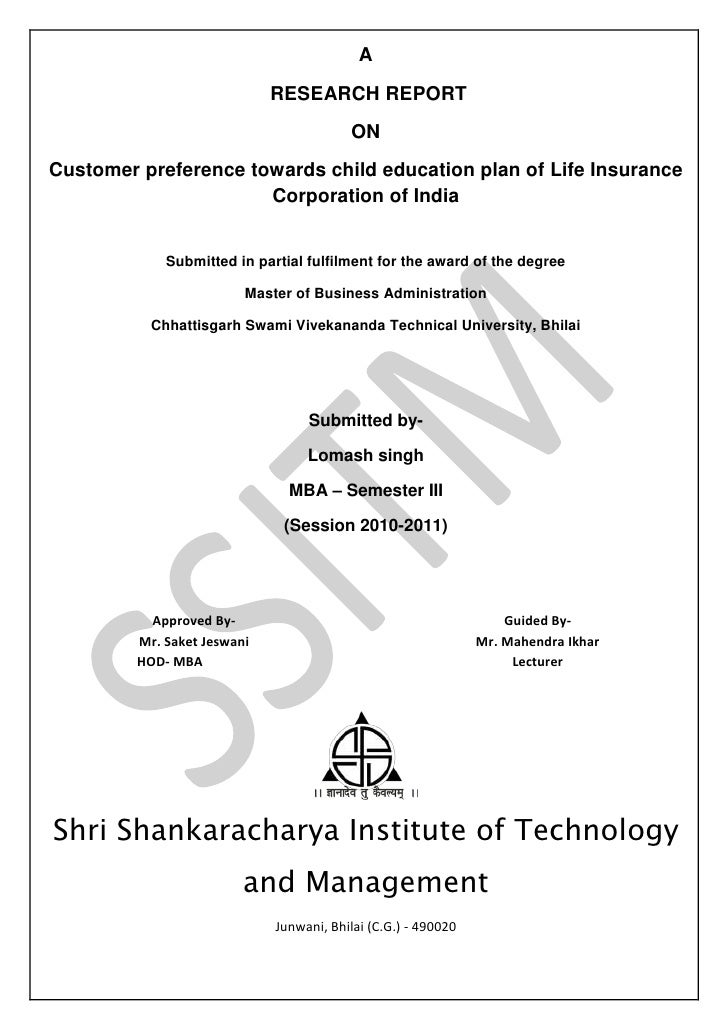 A                             RESEARCH REPORT                                         ONCustomer preference towards child ...