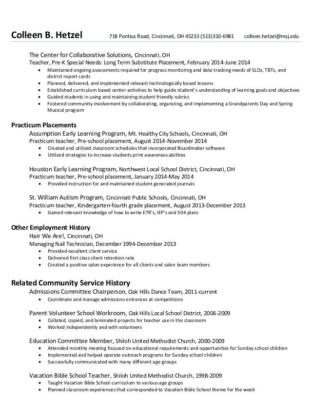 pre k teacher resume resume example for teacher seangarrette professional special education preschool teacher templates to pre kindergarten teacher resume