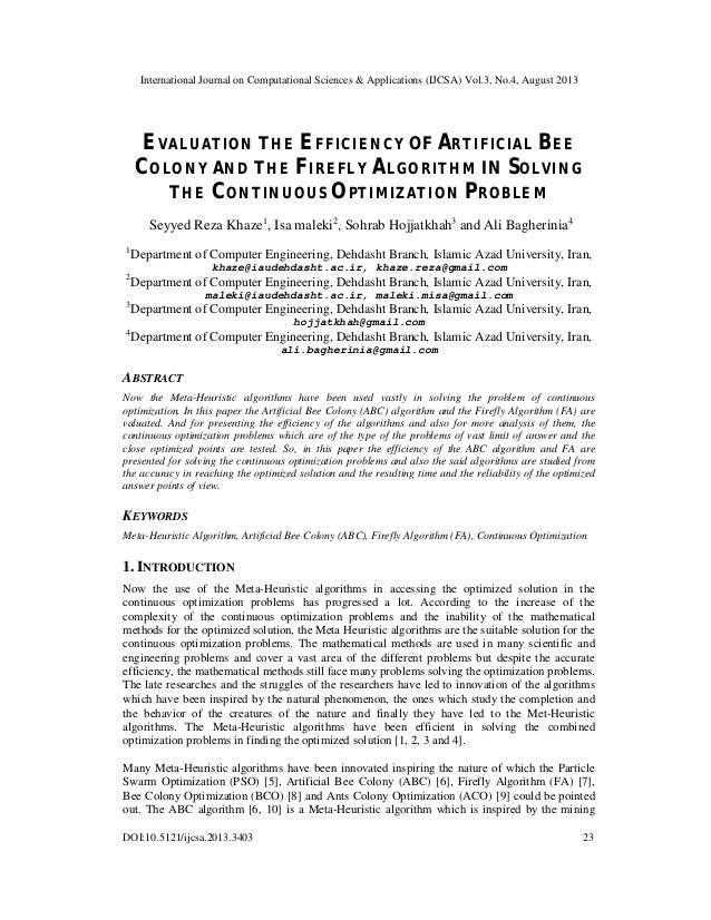 EVALUATION THE EFFICIENCY OF ARTIFICIAL BEE COLONY AND THE FIREFLY ALGORITHM IN SOLVING THE CONTINUOUS OPTIMIZATION PROBLEM