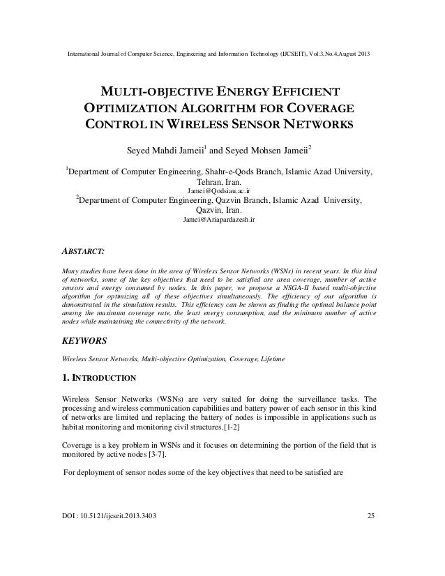 MULTI-OBJECTIVE ENERGY EFFICIENT OPTIMIZATION ALGORITHM FOR COVERAGE CONTROL IN WIRELESS SENSOR NETWORKS